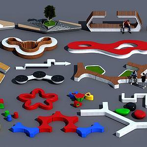 现代异形公园等候座椅模型