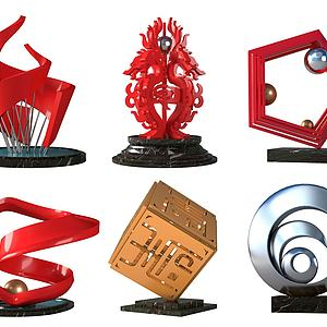 新中式城市广场艺术雕塑模型