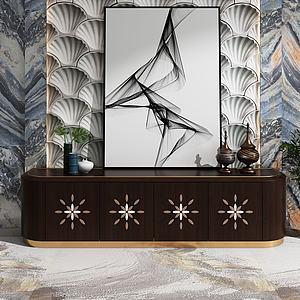 港式現代電視柜飾品3d模型