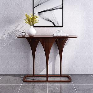 現代簡約實木玄關柜3d模型
