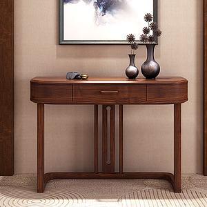 新中式玄關桌飾品3d模型