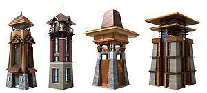東南亞景觀瞭望塔樓模型3d模型