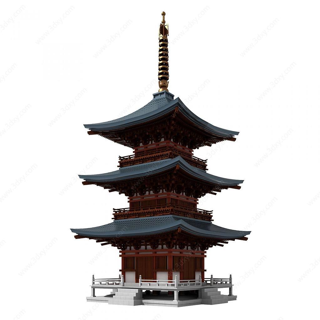 中式古建塔楼佛塔