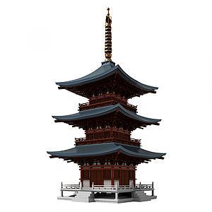 中式古建塔樓佛塔模型3d模型