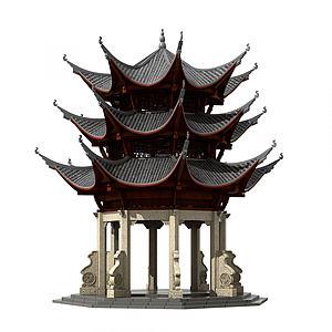 中式古建塔楼佛塔钟楼模型3d模型