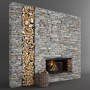 木頭背景墻3d模型