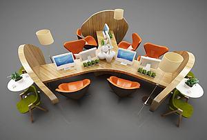 现代风格办公桌椅模型3d模型