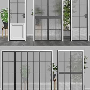 现代玻璃门3d模型
