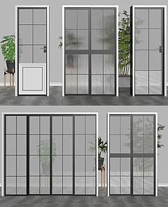 现代玻璃门模型3d模型