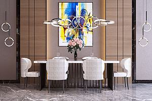 现代轻奢餐桌椅组合模型3d模型