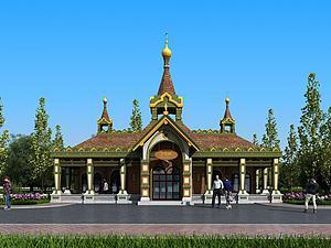 歐式戶外公共廁所建筑模型3d模型