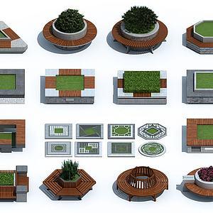 新中式戶外樹池花壇座椅模型