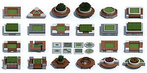 新中式戶外樹池花壇座椅模型3d模型