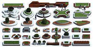 現代戶外異形樹池花壇模型3d模型