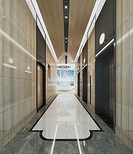 現代簡約售樓處電梯廳模型3d模型