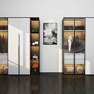 現代實木衣柜模型