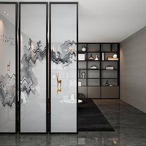 新中式霧色半透玻璃隔斷模型