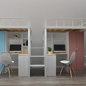 現代學校學生宿舍上下鋪模型