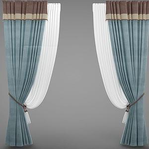 現代風格裝窗簾模型