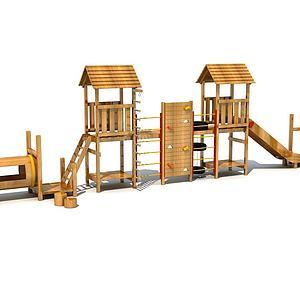 木質滑梯攀爬模型
