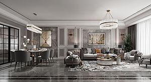 现代轻奢客厅餐厅模型3d模型