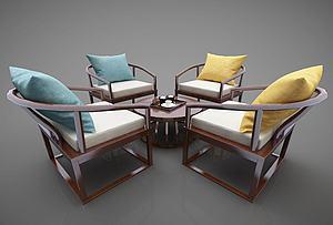 新中式風格茶桌模型3d模型