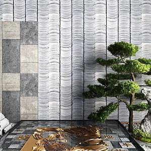 新中式景觀墻石頭松樹灌木模型