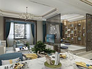 新中式客廳餐廳模型3d模型