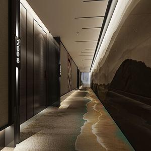 中式風格走廊模型