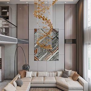 現代輕奢風格別墅客廳模型