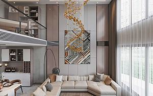 现代轻奢风格别墅客厅模型3d模型