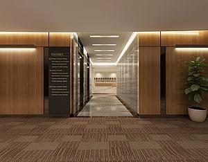 現代公司走廊前臺模型3d模型