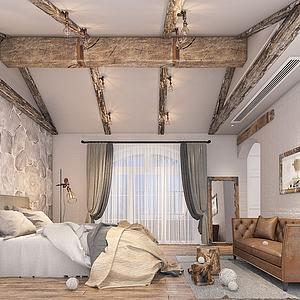 工業風格臥室模型