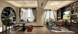 中式風格書房空間模型3d模型