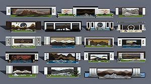新中式擬山石景觀背景墻模型3d模型