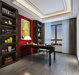 日式風格書房空間模型3d模型
