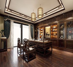 東南亞風格書房空間模型3d模型
