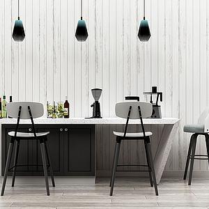 北歐吧臺吧椅3d模型