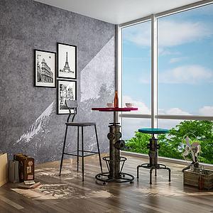 工業風格吧臺桌椅3d模型