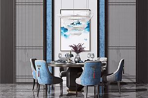 新中式圓形餐桌椅模型3d模型