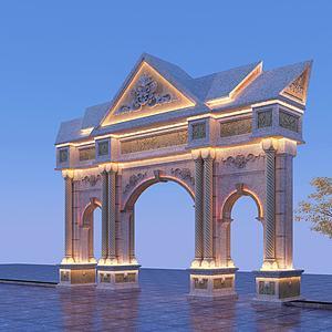 東南亞風格石雕牌坊模型