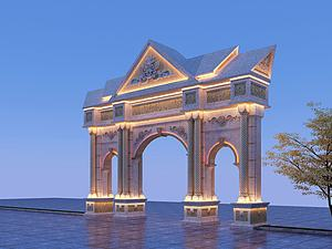 東南亞風格石雕牌坊模型3d模型