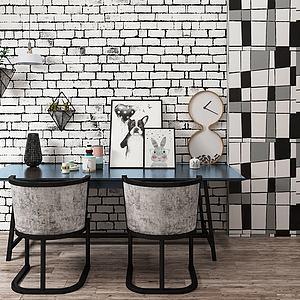 北歐餐桌椅擺件裝飾3d模型