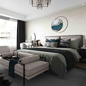 新中式風格主臥室模型
