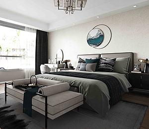 新中式風格主臥室模型3d模型