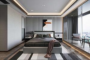現代風格主臥室模型3d模型
