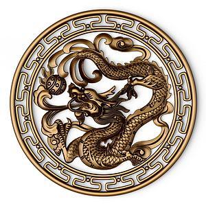 中式龍浮雕雕塑模型