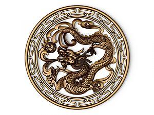 中式龍浮雕雕塑模型3d模型