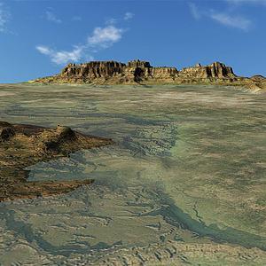 被淹沒的丘陵山地3d模型