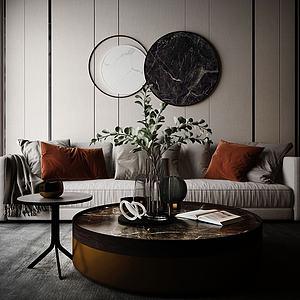 家具飾品沙發茶幾組合模型